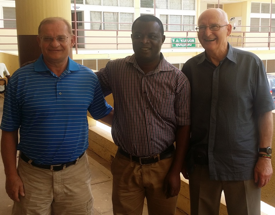 Dr. Kratochvil (right) with the Head of the Department of Chemistry Dr. Godfred Darko (middle)