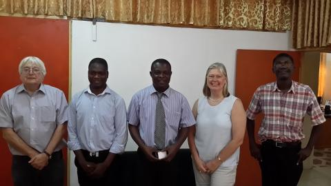 With the Head of Department Dr. Godfred Darko. From left: Prof Catlow, Dr. Richard Tia, Dr. Darko, Prof de Leeuw and Dr. Evans Adei Head of the Molecular Modeling Centre.